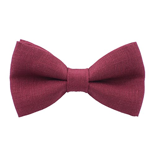 Linen Classic Pre-Tied Bow Tie Formal Solid Tuxedo, by Bow Tie House (Medium, Dark Red)