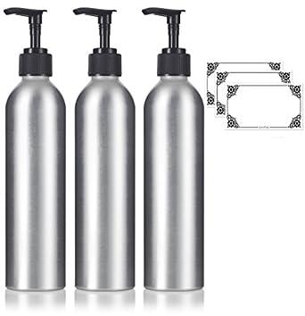 6ef08ac52fe3 Amazon.com: 8 oz Aluminum Empty Refillable Lotion Pump Bottle - (3 ...