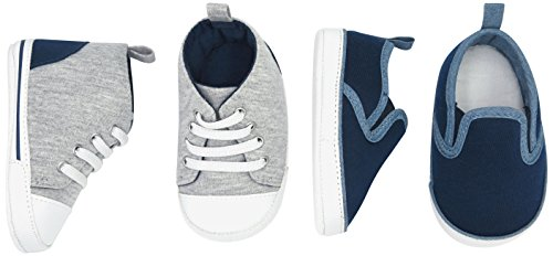 Simple Joys by Carter's Baby Boys' 2 Pack Crib Shoe Set: Soft Sole High Top Slip Sneaker, Navy/Chambray/Heathered Grey/Navy, 3-6 Months Regular US Infant