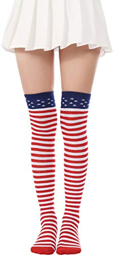 (Flag long Sock American USA Knee High Christmas Socks Thigh High Patriotic Stockings (A Pair Flag Over Knee Socks))