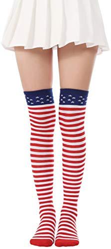 Patriotic Stocking - Flag long Sock American USA Knee High Christmas Socks Thigh High Patriotic Stockings (A Pair Flag Over Knee Socks)