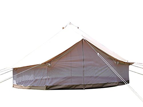 Cheap Dream House Heavy Duty Glamping Tent Safari Tent (Cotton Canvas Tent with Mesh Side Wall, Diameter 5M/16.4ft)