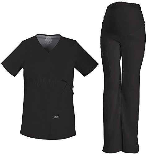 Scrubs Maternity Flare Pant (Cherokee Core Stretch Workwear Women's Maternity Scrub Top & Scrub Pant Set Large Black)