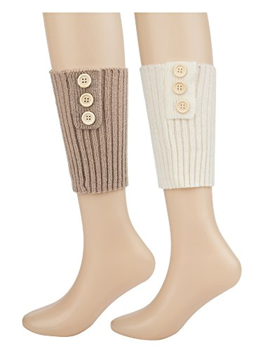 Dimore Knitted Button Boot Cuffs Faux Thick Winter Leg Warmers Boot Toppers Beige/White