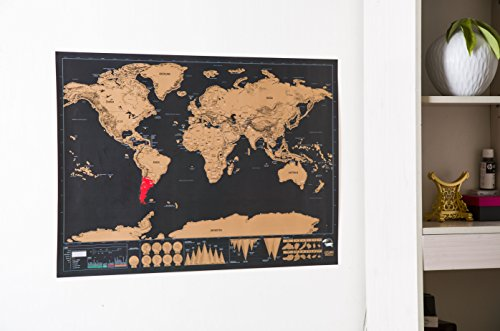 Scratch off Travel Map World Wall Map Poster with Country Flags Record and Share Your Adventures - Scratch off Travel Journal World Travel Tracker Map Deluxe Black Gold by YYVIGO (Black gold) Photo #4
