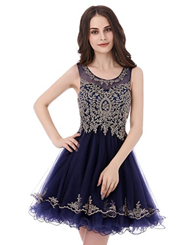 Sarahbridal Women's Sheer Neck Prom Dresses Short 2019 Applique Beading Homecoming Gowns Navy Blue US8