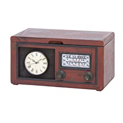 Plutus Brands Wood Cabinet with Antique Clock and Attached Radio