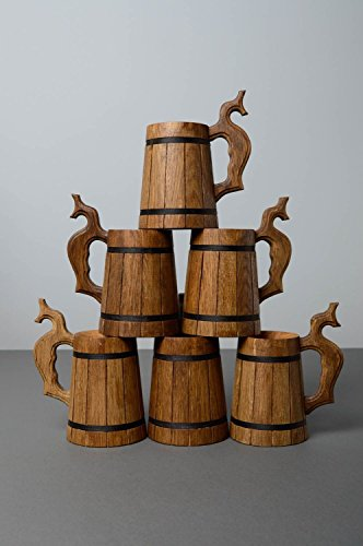 Wooden Handcrafted Decorative Handmade Beer Mug Home Decorating Ideas Set Of 6 | Octoberfest Tankard For Men  Women By MadeHeart