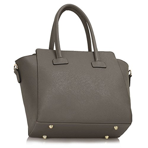 Faux Style Polished Handbag Ladies CWS00149 Quality Grey Shoulder Bag Fashion Cross Designer Women's Celebrity Body Leather Metal AqPzwRqF