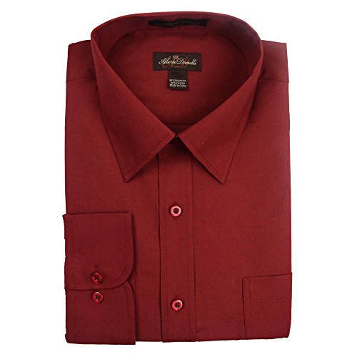 Alberto Danelli Men's Solid Long Sleeve Dress Shirt,Wine,XLarge / 17