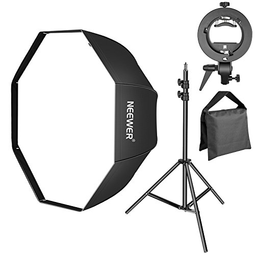 4' Camera Mounting Bracket - Neewer 32 inches/80 centimeters Octagonal Softbox with S-Type Speedlite Flash Bracket and 3-6.5 feet Adjustable Light Stand with Sandbag Kit, Bowens Mount for Portrait or Product Photography