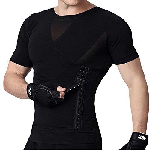 U-Pretty Herren Shapewear Schlank Bauch Hemd Body Shaper 042 (L,Schwarz)