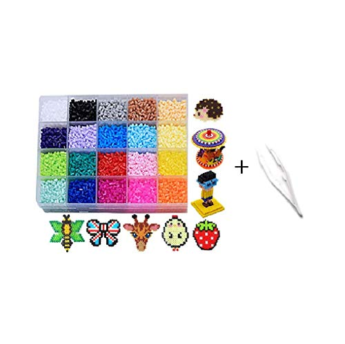 Souarts 11000PCS/20Colors/2.6mm-Fuse-Beads-Kit Miexed Plastic Perler Beads Art Crafts Supplie for Kids Beginners(Fuse Beads Kit-20 Colors) ()