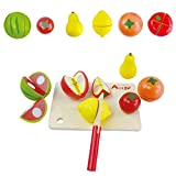 CCFX Children's Wooden Toys | Cut Fruit Set | Food Kitchen Accessories | Puzzle Enlightenment Toys | Birthday Gifts for Boys and Girls