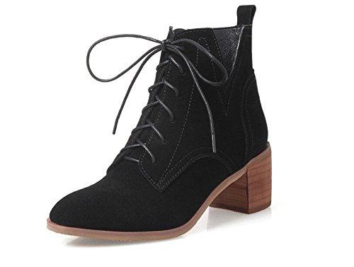 kuki-women, STIEFELETTEN, Martin Stiefel, Boots, Leder, Leder, STIEFEL, runder Kopf, mit der Ferse, Casual black single