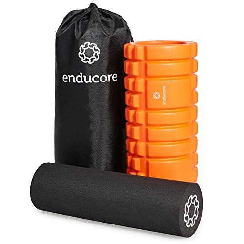 Faszien Rolle im 2-in-1 Set von enducore - Massageroller plus Foam Roller für effektive Selbstmassage - inkl. Tasche