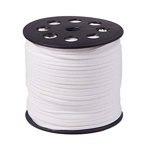 PH PandaHall 1 Roll (98 Yards, 295 Feet) 2.5mm Wide Faux Suede Cord Flat Micro Fiber Lace Leather Spool for Beading Necklace Jewelry Making (White)