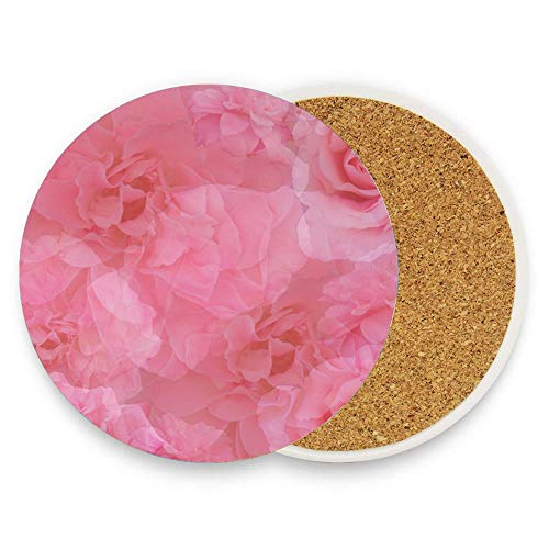 (Jugbasee Stylish Vintage Pink Rose Medley Absorbent Coaster For Drinks Ceramic Thirsty Stone With Cork Back Fit Big Cup, No Holder Pack Of 1)
