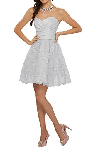 DressyMe Lace Cocktail Dresses Mini Party Gown Strapless Pleated Ball Gown-22W-Silver