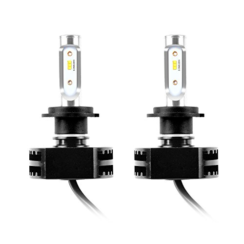 Fly Kan 2Pcs H7 LED Headlight Bulbs, Extremely Brigh 25Wx2 8000lm 6500k cool white Auto Headlamp, Fog Driving Light, HID or Halogen Head light Replacement - 2 Year - Mall Crystal Directions