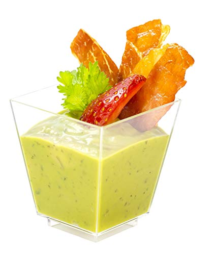 Square Mini Dessert Cup - 3.5 ounce - 50 Count - Lids & Spoons Included - Clear Plastic - Appetizer Cup - Parfait Cup - Dessert Cup -Disposable or Reusable