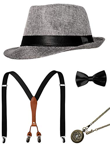 1920s Mens Accessories Gatsby Gangster Costume Accessories Set Manhattan Fedora Hat Suspenders Bow Tie Pocket Watch (Z-Grey Set) -