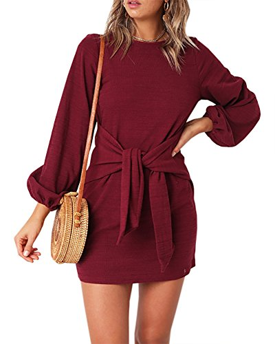 (Imily Bela Womens Tie Knot Front Bubble Sleeve Solid Crew Neck Loose Mini Dresses)