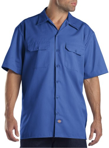 Dickies Shirts Short Sleeve Work Shirt (Large/Royal Blue)