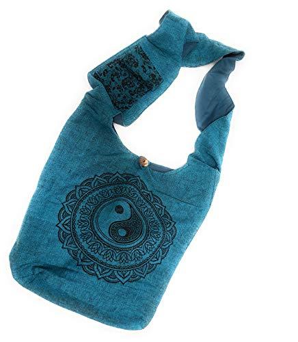 - Bohemian Yin and Yang Yoga Large Sling Crossbody Shoulder Bag Purse Hippie Hobo Gypsy (Blue)