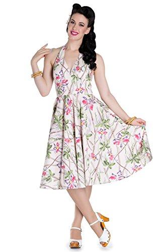Damen Blüten Bunny Bamboo Hell Cremefarben Orchids Kleid Sticks Kleid Neckholder mit qZOwvFwx