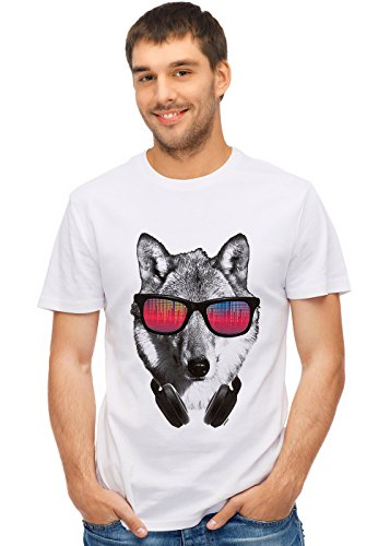 Retreez Funky DJ Wolf With Headphones & Shades Graphic Printed Unisex Men/Boys/Women T-Shirt Tee - White - Small (Wolf Shade)