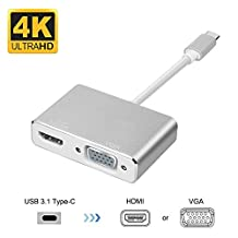 Type C To Hdmi +Vga Adapter, LC-doilda Usb 3.1 Type C (Usb-C) To Vga Hdmi 4K Uhd Converter Adaptor For 2017 Macbook Pro,Chromebook Pixel, Galaxy S8 and S8 Plus Plug and Play