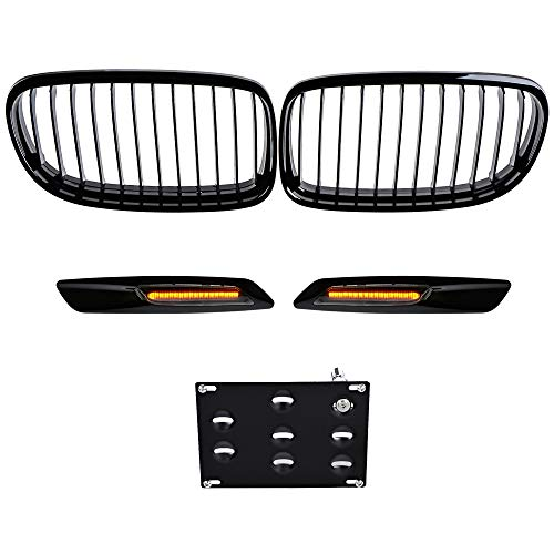 Glossy Black Front Kidney Grille with Tow Hook License Plate Mount Bracket and H8 CREE LED Halo Ring Angel Eyes Amber Side Marker Lights Compatible with 2009-2011 E90 E91 328i 335i Sedan LCI