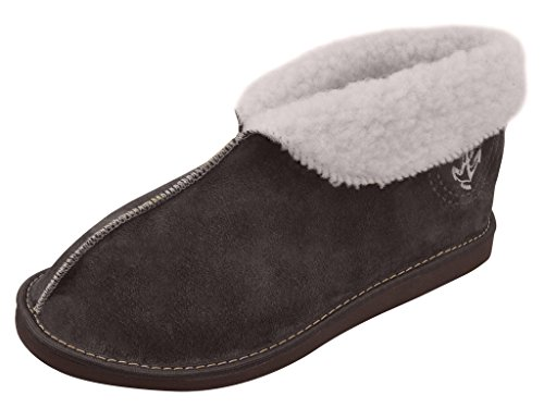 Genuine Men's Sheepskin Slippers - Suede Leather, Various Colours (UK10/11 / EU44/45, Dark Brown)