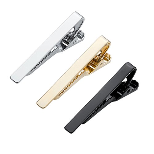 Zysta 3 Pc Mens Tie Bar Pinch Clip Set for Regular Ties 2.1 Inch / Skinny Ties 1.5 Inch, Silver, Black, Gold in Gift Box
