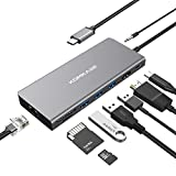USB C Hub, USB C Adapter 9-in-1 with USB C Power Delivery, 4K HDMI, 3 USB-A 3.0, RJ45 Gigabit Ethernet, TF/SD Card Reader, Audio Jack for MacBook Pro Chromebook Other Type C Devices