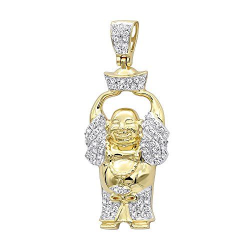 Mens 10K Real Gold Mini Laughing Buddha Diamond Pendant 0.3ctw (Yellow Gold)