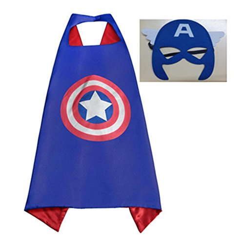 [Athena Marvel Superheroes Adult Size - Captain America Cape and Mask Gift Box Included] (Athena Adult Costumes)