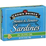 Crown Prince, Sardines, Skinless & Boneless in Olive Oil, 3.75oz Can (Pack of 6)