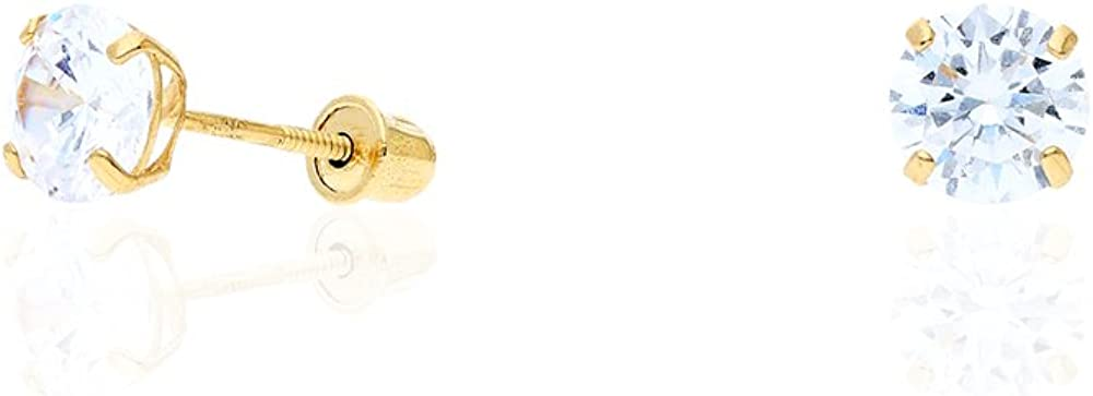 14k Yellow Gold White Gold 1.50Ct Birthstone Round Stud Screw Back Earrings