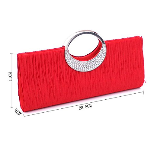 Handbags Deep Color Women Wedding Verus Clutch Pleated Coffee Satin Purse Diamante Rhinestone Bag Party Wallet PFwFZUqx7