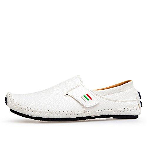en mocasines aliento de Bridfa White hombre 1 de conducción para primavera casuales cuero verano masculinos hombres zapatos resbalón Zapatos nO0OZxw