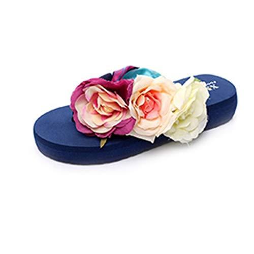 MIOKE Women's Bohemia Flowers Flat Platform Flipflops Summer Fashion Comfort Nonslip Beach Thong Sandals Navy Blue ()
