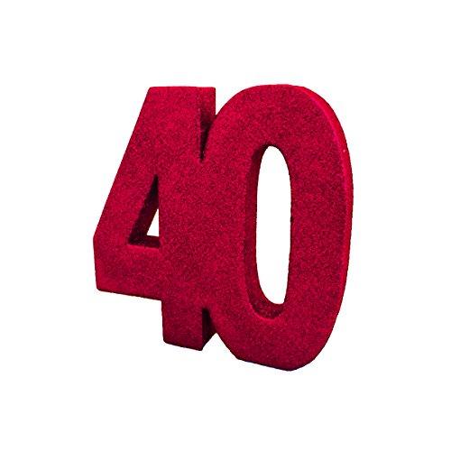 Creative Ruby '40' Glitter Table Decoration Centrepiece. Anniversary.
