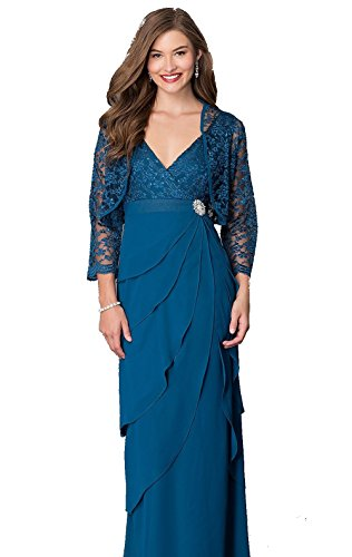 Love My Seamless Womens V-Neck Glitter Lace Formal Evening Mother Of The Bride Crepe Dress With Jacket (Medium, Teal)