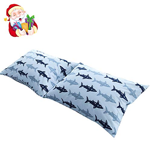 BuLuTu Cotton Navy/Grey Shark Print Bed Pillowcases Set of 2 Queen White Fish Pillow Covers Decorative Standard For Boys Girls Envelope Closure End-Premium,Breathable,Hypoallergenic (2 - Bed Pack Case