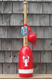 Buoy Bat Outdoor Game Ball and Bat Set - Red Buoy with White Lobster and Stripe made in Maine
