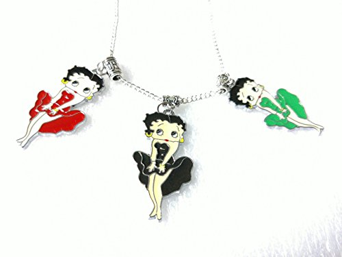 (Betty Boop Enamel Pendant Charm Silver Plated Chain Necklace 3)