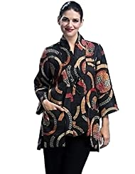 IC Collection - Floral Swirls, Geometric Pattern Dual Pockets Single Button Jacket