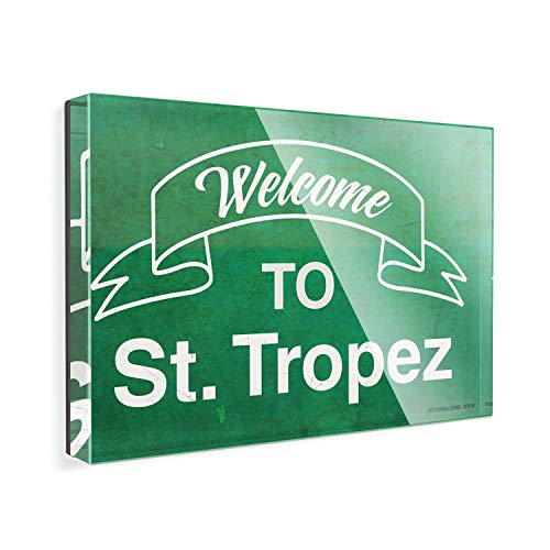 Acrylic Fridge Magnet Green Sign Welcome To St. Tropez NEONBLOND